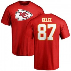 Men's Travis Kelce Kansas City Chiefs Name & Number Logo T-Shirt - Red