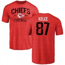 Men's Travis Kelce Kansas City Chiefs Red Distressed Name & Number Tri-Blend T-Shirt