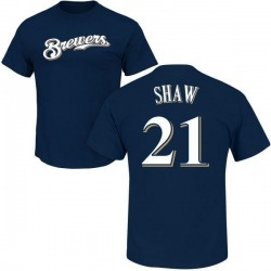 Men's Travis Shaw Milwaukee Brewers Roster Name & Number T-Shirt - Navy