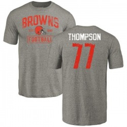 Men's Trenton Thompson Cleveland Browns Gray Distressed Name & Number Tri-Blend T-Shirt