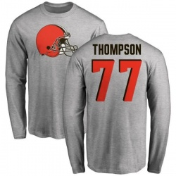 Men's Trenton Thompson Cleveland Browns Name & Number Logo Long Sleeve T-Shirt - Ash