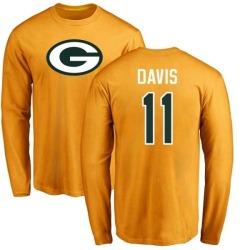 Men's Trevor Davis Green Bay Packers Name & Number Logo Long Sleeve T-Shirt - Gold