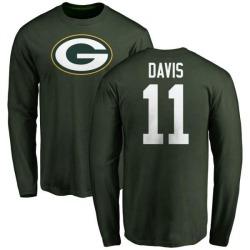 Men's Trevor Davis Green Bay Packers Name & Number Logo Long Sleeve T-Shirt - Green