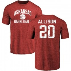 Men's Troy Allison Arkansas Razorbacks Distressed Basketball Tri-Blend T-Shirt - Cardinal