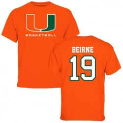 Men's Tucker Beirne Miami Hurricanes Basketball Name & Number T-Shirt - Orange