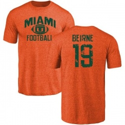 Men's Tucker Beirne Miami Hurricanes Distressed Football Tri-Blend T-Shirt - Orange