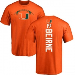 Men's Tucker Beirne Miami Hurricanes Football Backer T-Shirt - Orange