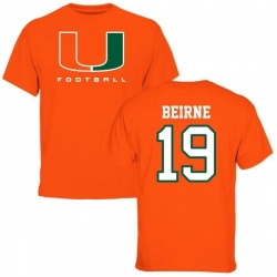 Men's Tucker Beirne Miami Hurricanes Football T-Shirt - Orange