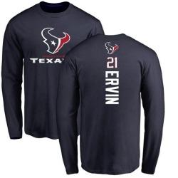 Men's Tyler Ervin Houston Texans Backer Long Sleeve T-Shirt - Navy
