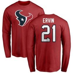 Men's Tyler Ervin Houston Texans Name & Number Logo Long Sleeve T-Shirt - Red