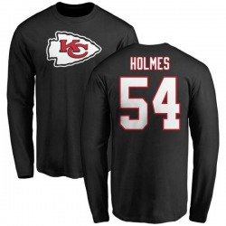 Men's Tyrone Holmes Kansas City Chiefs Name & Number Logo Long Sleeve T-Shirt - Black