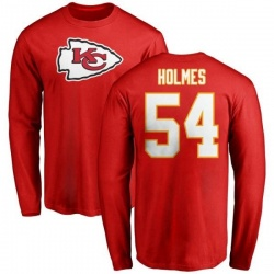 Men's Tyrone Holmes Kansas City Chiefs Name & Number Logo Long Sleeve T-Shirt - Red