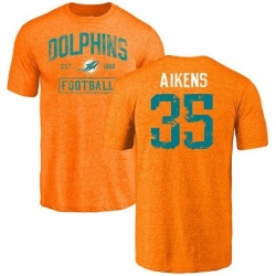 Men's Walt Aikens Miami Dolphins Orange Distressed Name & Number Tri-Blend T-Shirt