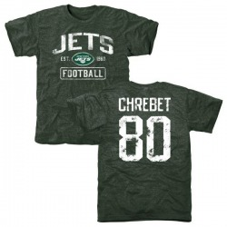 Men's Wayne Chrebet New York Jets Green Distressed Name & Number Tri-Blend T-Shirt