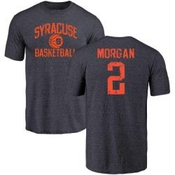 Men's Wayne Morgan Syracuse Orange Distressed Basketball Tri-Blend T-Shirt - Navy