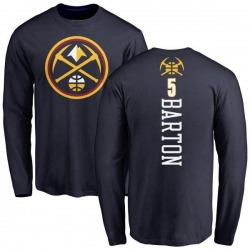 Men's Will Barton Denver Nuggets Navy Backer Long Sleeve T-Shirt