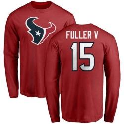 Men's Will Fuller V Houston Texans Name & Number Logo Long Sleeve T-Shirt - Red