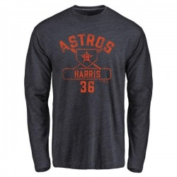 Men's Will Harris Houston Astros Base Runner Tri-Blend Long Sleeve T-Shirt - Navy