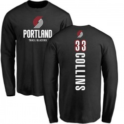 Men's Zach Collins Portland Trail Blazers Black Backer Long Sleeve T-Shirt
