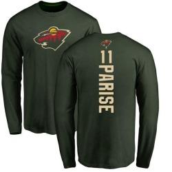Men's Zach Parise Minnesota Wild Backer Long Sleeve T-Shirt - Green