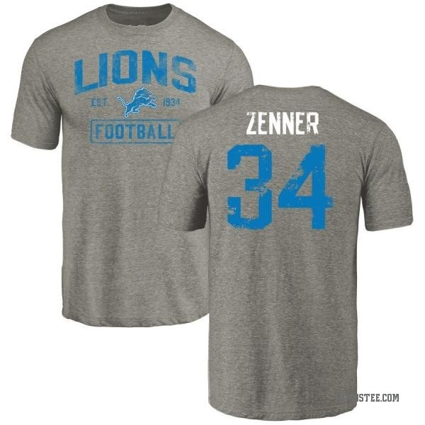 cheap for discount f040c c52aa Men's Zach Zenner Detroit Lions Gray Distressed Name & Number Tri-Blend  T-Shirt - Teams Tee