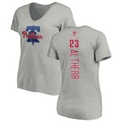 Women's Aaron Altherr Philadelphia Phillies Backer Slim Fit T-Shirt - Ash