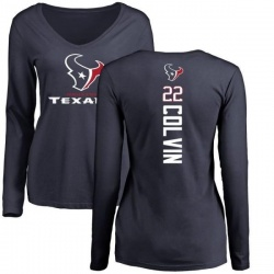 Women's Aaron Colvin Houston Texans Backer Slim Fit Long Sleeve T-Shirt - Navy