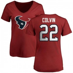 Women's Aaron Colvin Houston Texans Name & Number Logo Slim Fit T-Shirt - Red