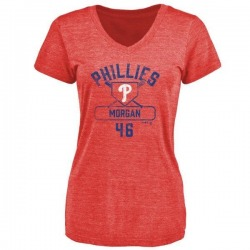 Women's Adam Morgan Philadelphia Phillies Base Runner Tri-Blend T-Shirt - Red