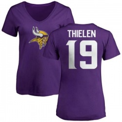 Women's Adam Thielen Minnesota Vikings Name & Number Logo Slim Fit T-Shirt - Purple