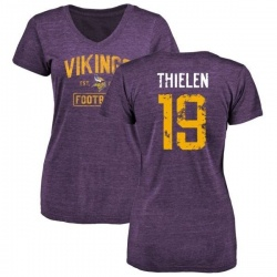 Women's Adam Thielen Minnesota Vikings Purple Distressed Name & Number Tri-Blend V-Neck T-Shirt