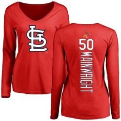 Women's Adam Wainwright St. Louis Cardinals Backer Slim Fit Long Sleeve T-Shirt - Red