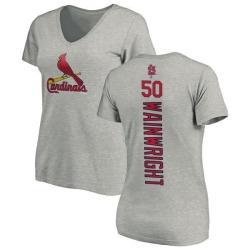Women's Adam Wainwright St. Louis Cardinals Backer Slim Fit T-Shirt - Ash