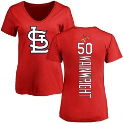 Women's Adam Wainwright St. Louis Cardinals Backer Slim Fit T-Shirt - Red