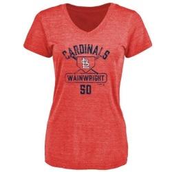 Women's Adam Wainwright St. Louis Cardinals Base Runner Tri-Blend T-Shirt - Red