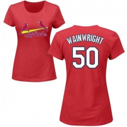 Women's Adam Wainwright St. Louis Cardinals Roster Name & Number T-Shirt - Red