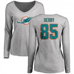 Women's A.J. Derby Miami Dolphins Name & Number Logo Slim Fit Long Sleeve T-Shirt - Ash
