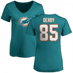 Women's A.J. Derby Miami Dolphins Name & Number Logo Slim Fit T-Shirt - Aqua