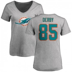 Women's A.J. Derby Miami Dolphins Name & Number Logo Slim Fit T-Shirt - Ash