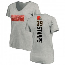 Women's A.J. Stamps Cleveland Browns Backer V-Neck T-Shirt - Ash