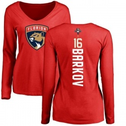 Women's Aleksander Barkov Florida Panthers Backer Long Sleeve T-Shirt - Red