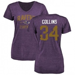 Women's Alex Collins Baltimore Ravens Purple Distressed Name & Number Tri-Blend V-Neck T-Shirt