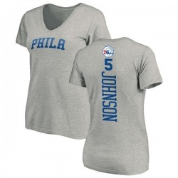 Women's Amir Johnson Philadelphia 76ers Ash Backer T-Shirt
