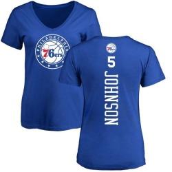Women's Amir Johnson Philadelphia 76ers Royal Backer T-Shirt