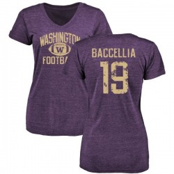 Women's Andre Baccellia Washington Huskies Distressed Football Tri-Blend V-Neck T-Shirt - Purple