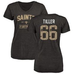 Women's Andrew Tiller New Orleans Saints Black Distressed Name & Number Tri-Blend V-Neck T-Shirt