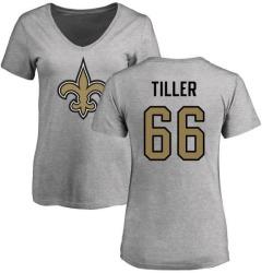 Women's Andrew Tiller New Orleans Saints Name & Number Logo Slim Fit T-Shirt - Ash