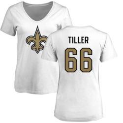 Women's Andrew Tiller New Orleans Saints Name & Number Logo Slim Fit T-Shirt - White
