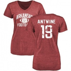 Women's Anthony Antwine Arkansas Razorbacks Distressed Football Tri-Blend V-Neck T-Shirt - Cardinal