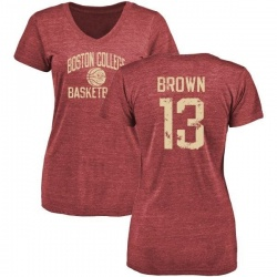 Women's Anthony Brown Boston College Eagles Distressed Basketball Tri-Blend T-Shirt - Maroon